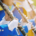 Close up show band parade and details of playing musicians instr